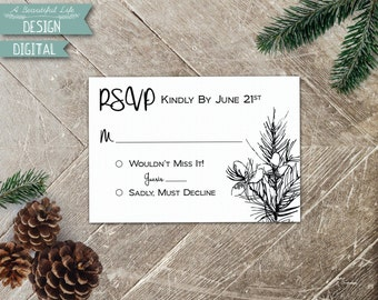 Printable RSVP Card - Pine Woods - Digital File - Customizable