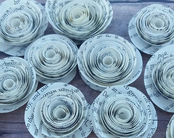 Book Pages Roses-Wedding Table Decor-Set of 20 Flowers-Book Page Flowers-Vintage Loose Paper-Paper Flowers-Loose Book Paper Flowers
