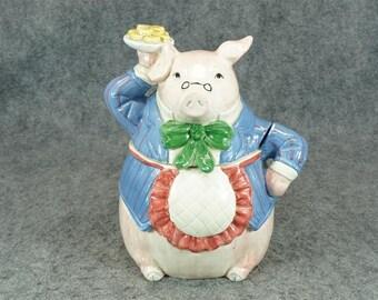 Fitz And Floyd Pig Serving Cookie Jar C.  1987