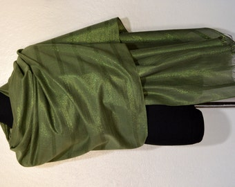 Green linen and cotton shawl scarf wrap