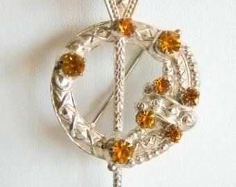 Vintage Sterling Silver Scottish Brooch Citrine Gold Orange - WBS Ward Brothers