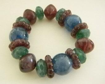 Purple Blue Green Chunky Stretch Bracelet