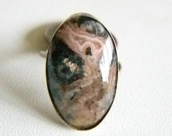 Alpaca Silver Variegated  Pink Black Brown Rhodonite Stone Ring - Size 5