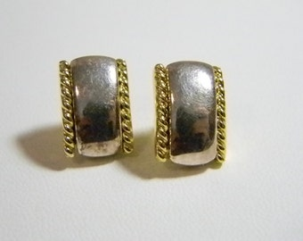 Small NAPIER Gold Silver Tone Square Post Pierced Earrings
