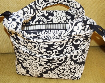 Black and Cream Damask Tote