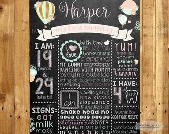 Hot Air Balloon Shabby Chic Chalkboard Birthday Sign - Milestone Chalkboard - Pink and Mint-Girl-Printable-Custom-You Print-Birthday