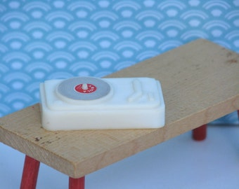 Doll house vintage record player 1970s white plastic