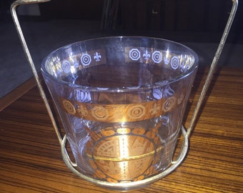 Midcentury gold design ice bucket for your vintage bar