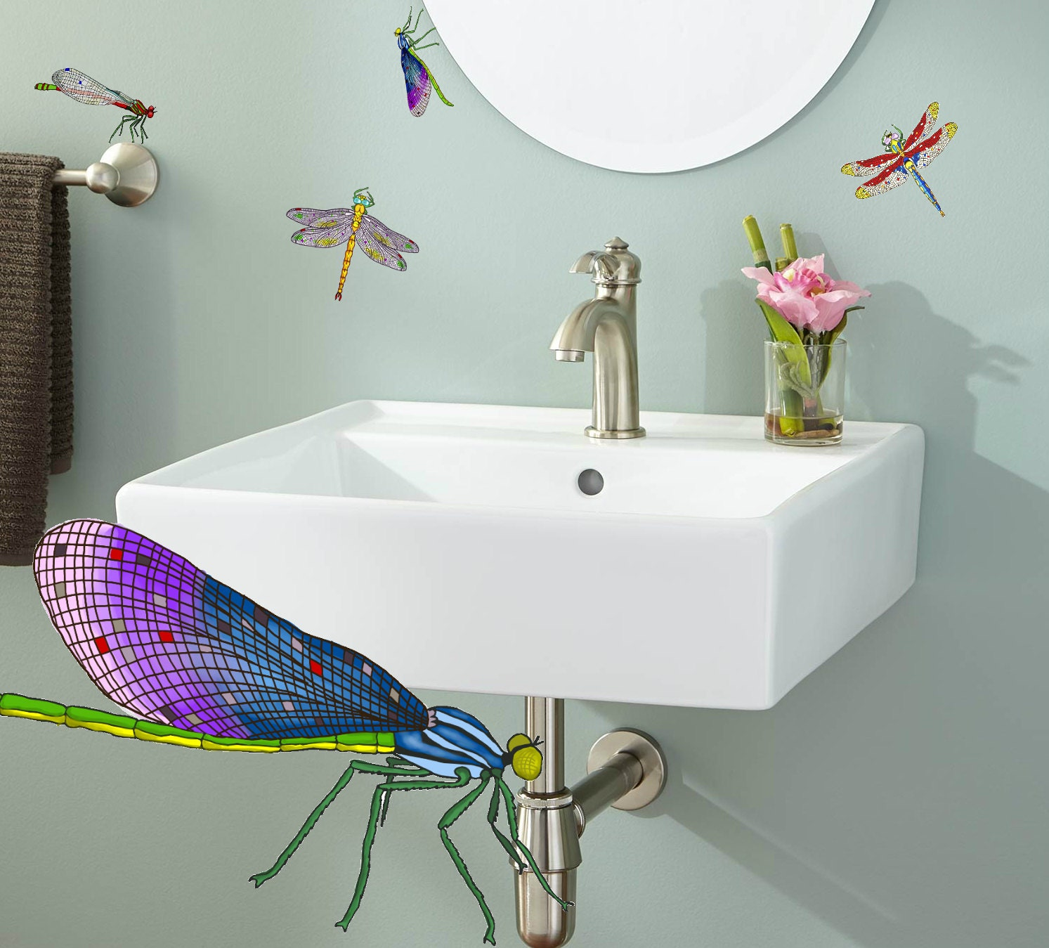Hand painted dragonfly decals 11 set of by easysweethome for Dragonfly mural