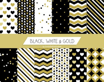 Gold digital paper, party printable paper decorations, new year's eve 2016, black white paper, modern christmas gift wrap, digital download