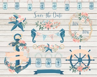 """Navy clipart: """"VINTAGE NAVY CLIPART"""" with floral anchor clipart, navy wheel, navy jars, seahorse, starfish, 31 graphics, 300 dpi. png files"""