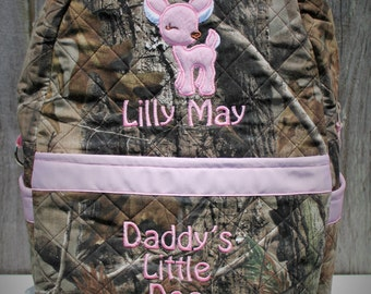 """Large Quilted Camo Backpack, Embroidered Backpack for school or diaper bag, Camo Baby bag, Camouflage Backpack 12""""X16""""X7"""""""
