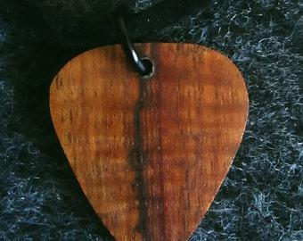 Koa guitar pick pendant necklace