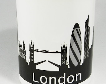 Iconic London Skyline Mug with black glazed handle and inner