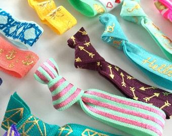 Hair Ties - Metallic Hair Tie Grab Bag / Hair Bands / Elastics - Set of 10 Metallic Hair Ties, Variety, Mix, Basic, Gifts for Girls, Teens