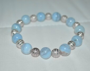 Blue Lace Agate Bracelet . Blue Lace Agate Stacking Bracelet . Reiki Healing Bracelet . Throat Chakra Healing Bracelet . Blue Lace Agate