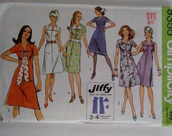 Vintage 1970's Simplicity 9355 Jiffy Sewing pattern Wide Collar Midi Mini Dress