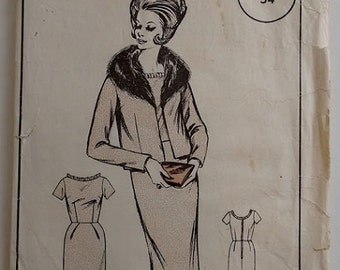 Woman's Realm L97 Sewing Pattern 60's Suit Fur Trim Coat Jacket and Ruffle Edge Shift Dress Size Medium