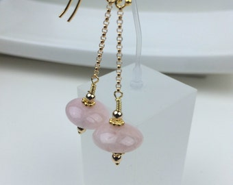 Morganite Earrings, Long Drop Earrings in Gold filled and Vermeil. EPI 6