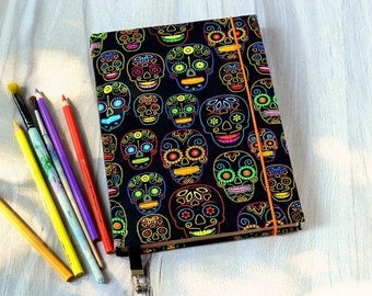 A5 notebook Fabric journal Sugar skull fabric covered notebook Handmade notebook Old paper journal Vintage book Antique blank book Black