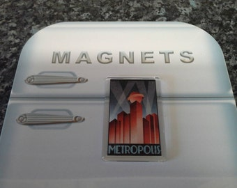 Metropolis Travel Poster Fridge Magnet. Inspired by the Fritz Lang Sci Fi Classic