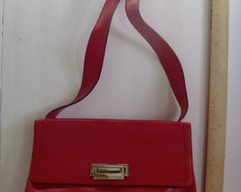 Adrianne Vittadini Classic Red Leather Shoulder Purse