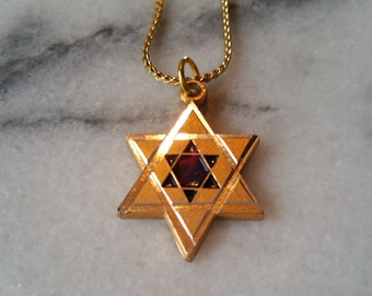 Gold and Silver with Blue Star of David on Gold Necklace Handmade