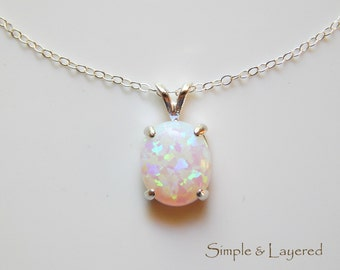 Opal Pendant Necklace • White Opal • Gemstone Necklace • October Birthstone • Gift for Girlfriend • Her • Sister • Mom [10x8]