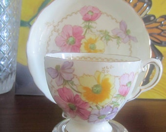 Tuscan China by RH Plant 7642A Pale Yellow Bone China Tea Cup and Saucer - Made in England ca1936