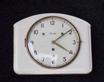 Ceramic clock, Mauthe wall clock, Art Deco wall clock, mechanical wall clock, white clock, retro clock, wall decor, unique, kitchen decor