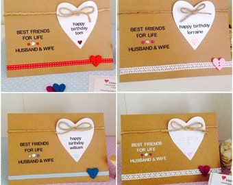 Best Friends For Life - Personalised Wife Birthday Cards - Personalised Husband Birthday Cards