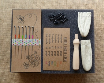 Aguja de fieltrar - kit para Afieltrar - agujas de fieltrar, almohadilla de espuma, protectores de dedos, ojos de juguete de 4mm, juego de manijas de aguja