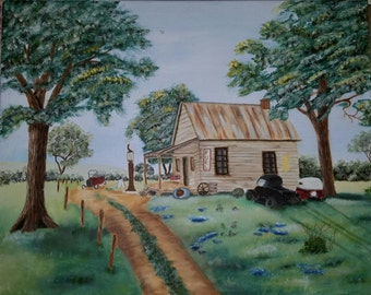 Oil Painting, Small Town living, Gas station, 20x16, 1940 or 1950's filling station, country road