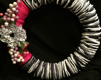 Coral and BW Wreath