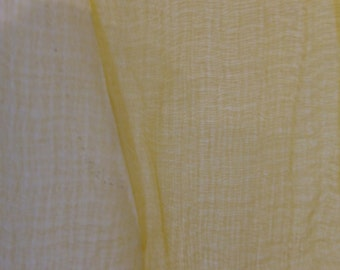 Yellow Old Gold Muslin Silk Stole Handwoven with flowers picked on the stripes