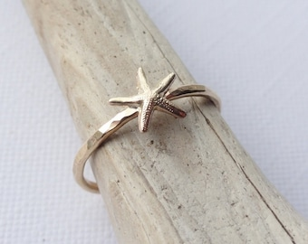 Handmade Gold Filled Hammered Starfish Ring - SEASIDE - SHORE - BEACH