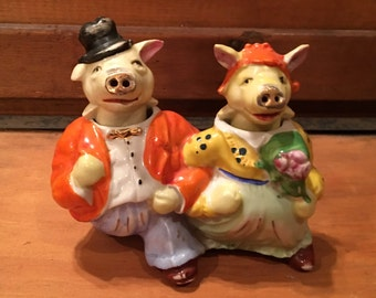 Vintage Pigs All Dressed Up-Nodders Salt and Pepper Shakers
