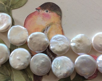 WHITE COIN pearls 12-13mm 16 inch strand