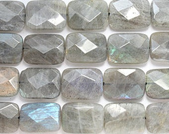Labradorite 13x18mm faceted rectangle bead strand 8 inch  strand