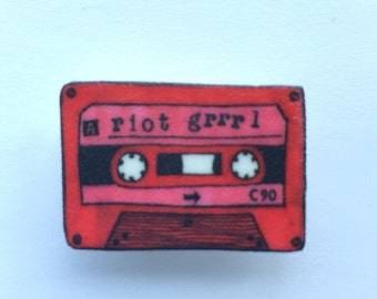 Mini Riot Grrrl cassette badge