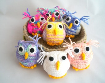 Crochet Owl / Amigurumi Owl / Snowy White Hedwig Owl and Friends / Seven Owls in Nest / Nest of Owls.