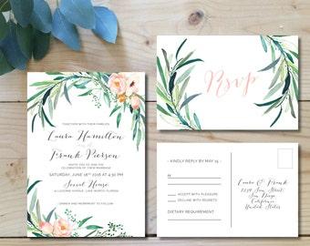 Printable Wedding Invitation Set | Wedding Invitation + RSVP postcard |  Watercolor, modern, floral, botanical, bohemian, blush | Eucalyptus