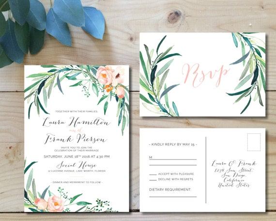 Printable Wedding Invitation Sets: Printable Wedding Invitation Set Wedding By WhiteWillowPaperCo