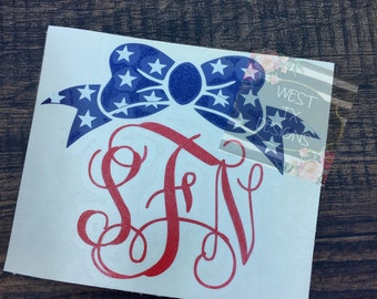 Bow Monogram | Patriotic Decal | American Flag Monogram | Fourth of July Decal | American Flag Bow | Patriotic Monogram