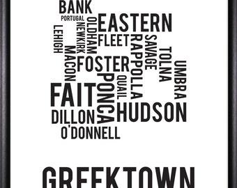 Greektown Baltimore Neighborhood Street Print