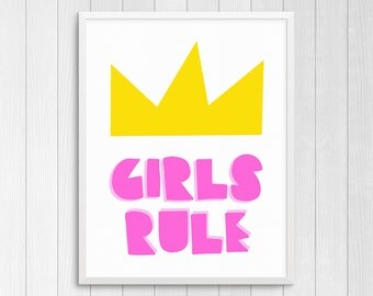 Printable Art Girls Rule Nursery Wall Art Kids Wall Art Childs Room Decor Girls Nursery Art Girls Room Wall Art Girls Gift