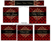 Etsy Store Banners, Premade Banners, Premade Etsy Kit, Etsy Logos, Banner Sets, Etsy Headers, Etsy Logos Red and Gold Banners, Red Damask