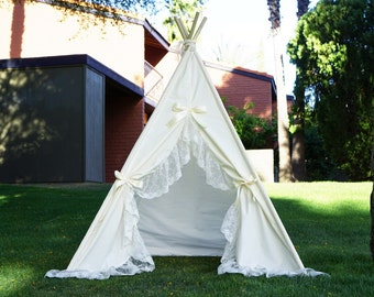 Ivoryholic lace kids teepee tent/ ruffle lace kids photo prop tent/play tipi with ruffle lace around the opening