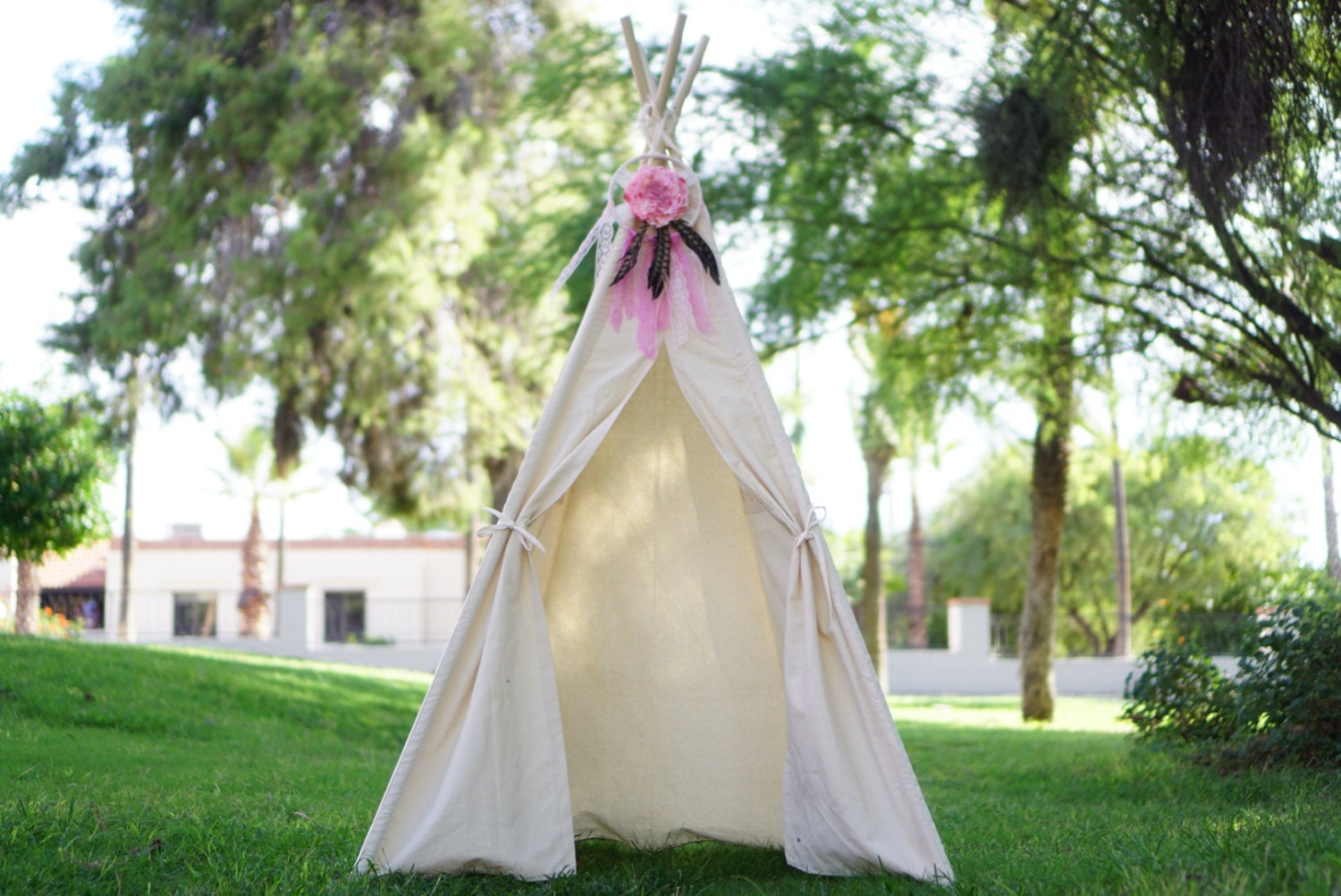 CANOPY 36u0027u0027 kids Teepee on unbleached canvas/ canvas Play tent / Tipi Wigwam or Playhouse with door Ties & CANOPY 36u0027u0027 kids Teepee on unbleached canvas/ canvas Play tent ...