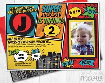 Super Hero Invitations Photo INSTANT DOWNLOAD Superhero Invites Personalize Birthday Party Editable Girls Boys Picture Comic Book Printable